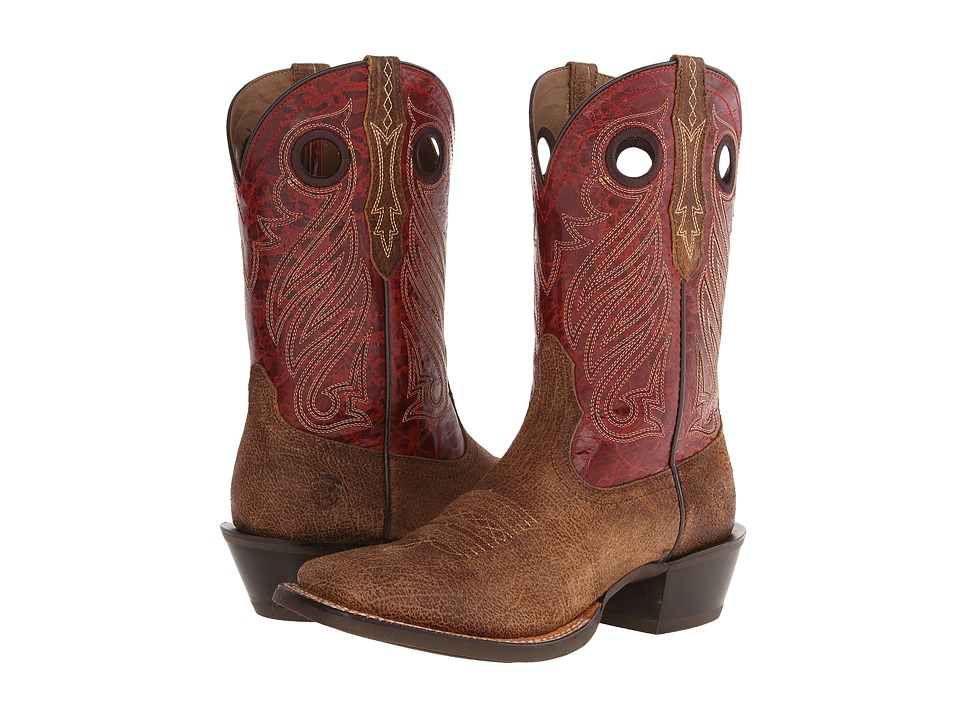 Ariat - Cross Tie (Tan Oiled Gaucho/Red Appy) Cowboy Boots