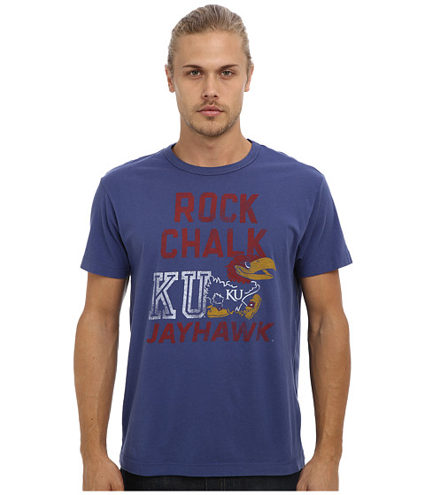 Tailgate Clothing Co. - Kansas Rock Chalk Jayhawk Tee (Washed Royal) Men's T Shirt