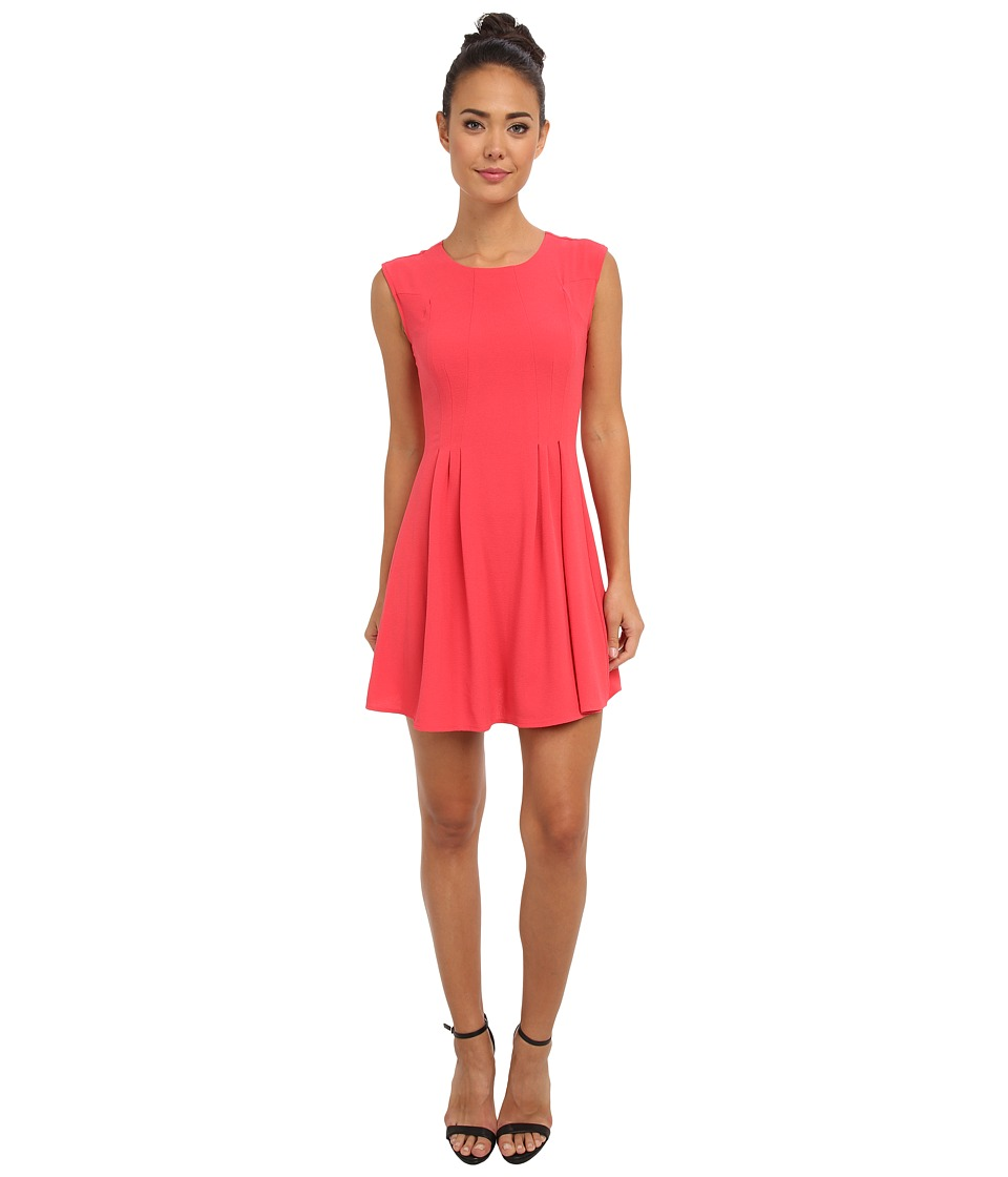 Brigitte Bailey - Crepe Zip Back Fit Flare (Coral) Women