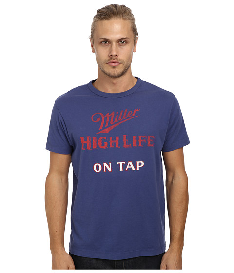Tailgate Clothing Co. - Miller High Life Tee (Washed Royal) Men's Short Sleeve Pullover