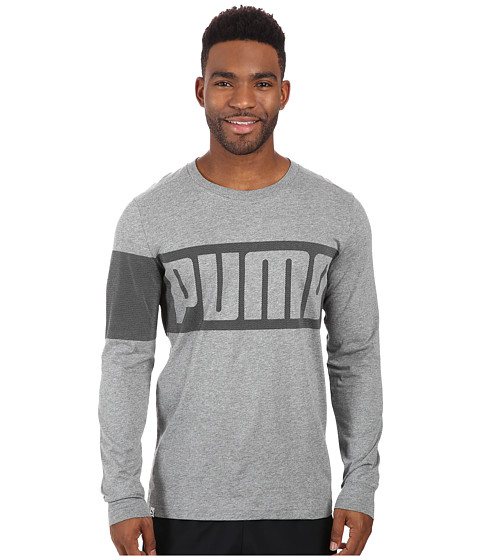 PUMA - Long Sleeve Tee (Medium Gray Heather) Men's T Shirt