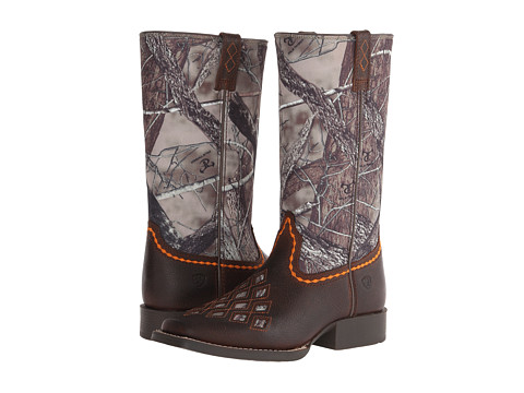 Ariat Kids - Go Getter (Toddler/Little Kid/Big Kid) (Brown Oiled Rowdy/Camo) Cowboy Boots