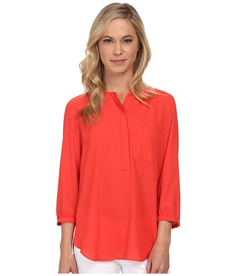 NYDJ Petite - Petite Solid 3/4 Sleeve Pleat Back (Cerise) Women's Long Sleeve Pullover