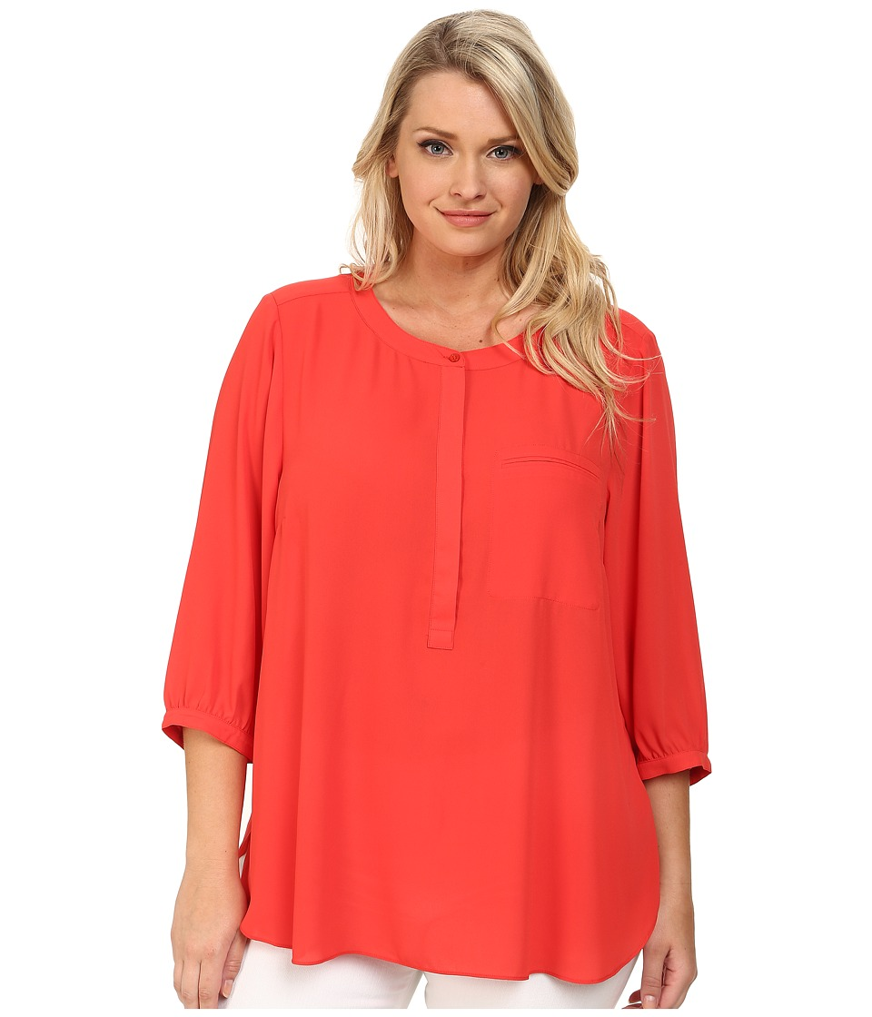 NYDJ Plus Size - Plus Size Solid 3/4 Sleeve Pleat Back (Cerise) Women's Long Sleeve Pullover