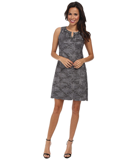 Jessica Howard - Sleeveless Beaded Split Neck Shift Dress (Grey) Women's Dress