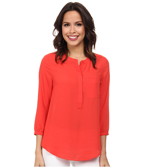 NYDJ - Solid 3/4 Sleeve Pleat Back (Cerise) Women's Blouse