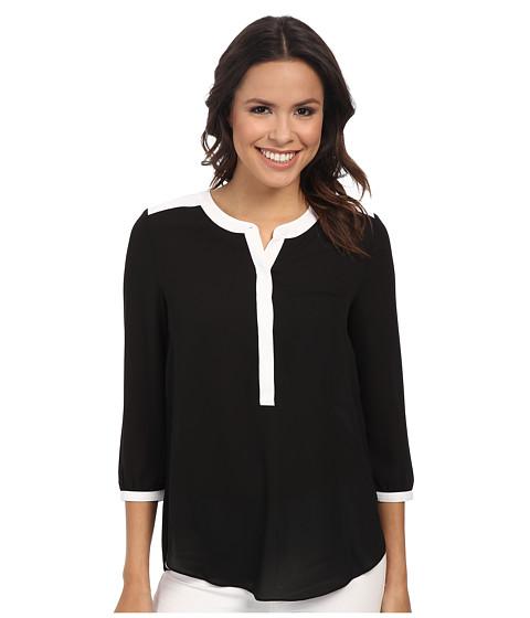 NYDJ - 3/4 Sleeve Pleat Back (Color Block Black/Optic White) Women's Blouse
