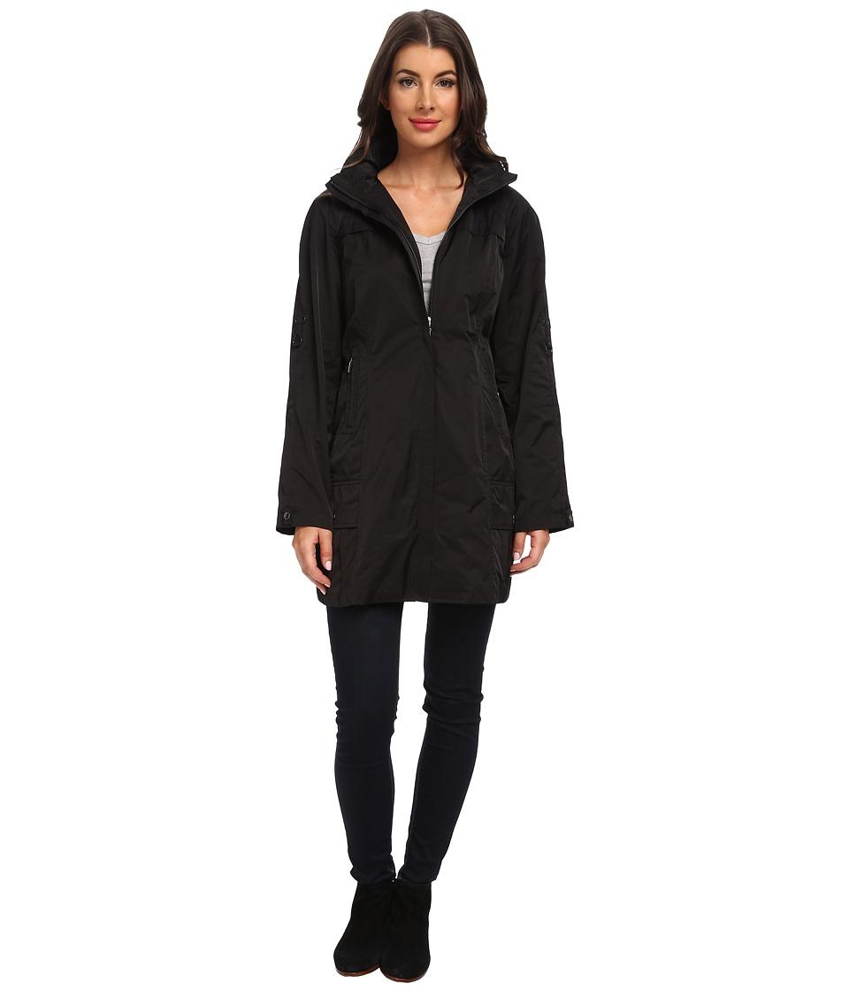Rainforest - Packable Coat w/ Roll Sleeve (Black) Women's Coat