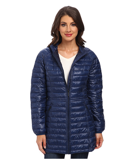 Rainforest - ThermoLuxe Quilt Topper (Navy) Women's Coat