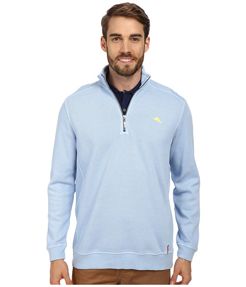 Tommy Bahama - Antigua Half Zip Sweatshirt (Fluid Blue) Men