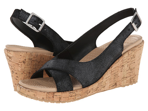 Crocs - A-Leigh Shimmer Leather Wedge (Black Shimmer) Women