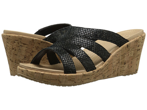 Crocs - A-Leigh Snake Pattern Sandal Wedge (Black Snake) Women's Wedge Shoes