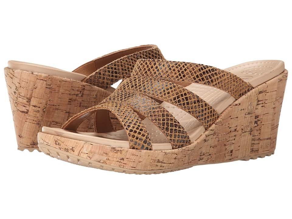 Crocs - A-Leigh Snake Pattern Sandal Wedge (Brown Snake) Women's Wedge Shoes