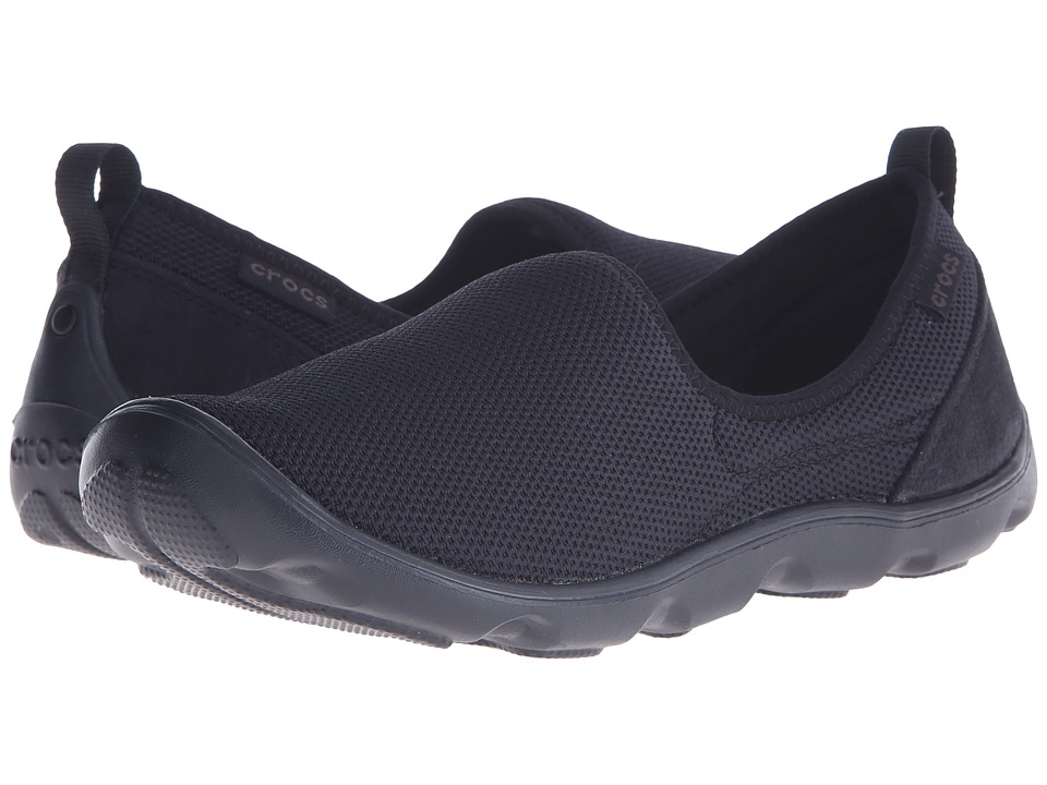 Crocs - Duet Busy Day Mesh Skimmer (Black/Black) Women's Slip on Shoes