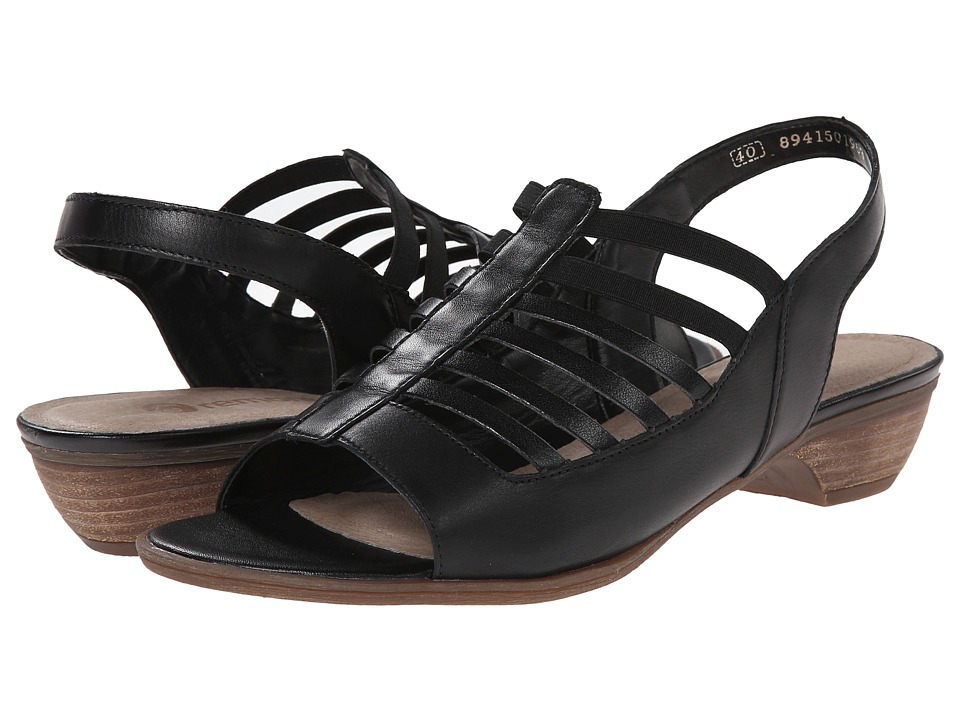 Rieker - R0853 Doreen 53 (Black/Black) Women's Toe Open Shoes