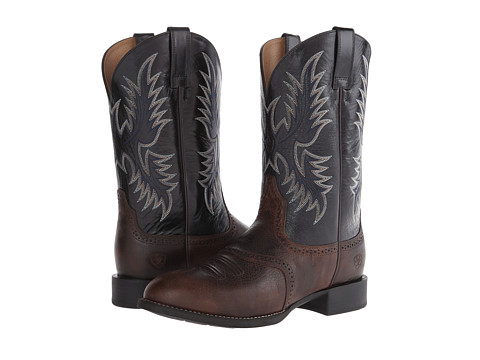 Ariat - Heritage Stockman (Wicker/Shiny Black) Cowboy Boots