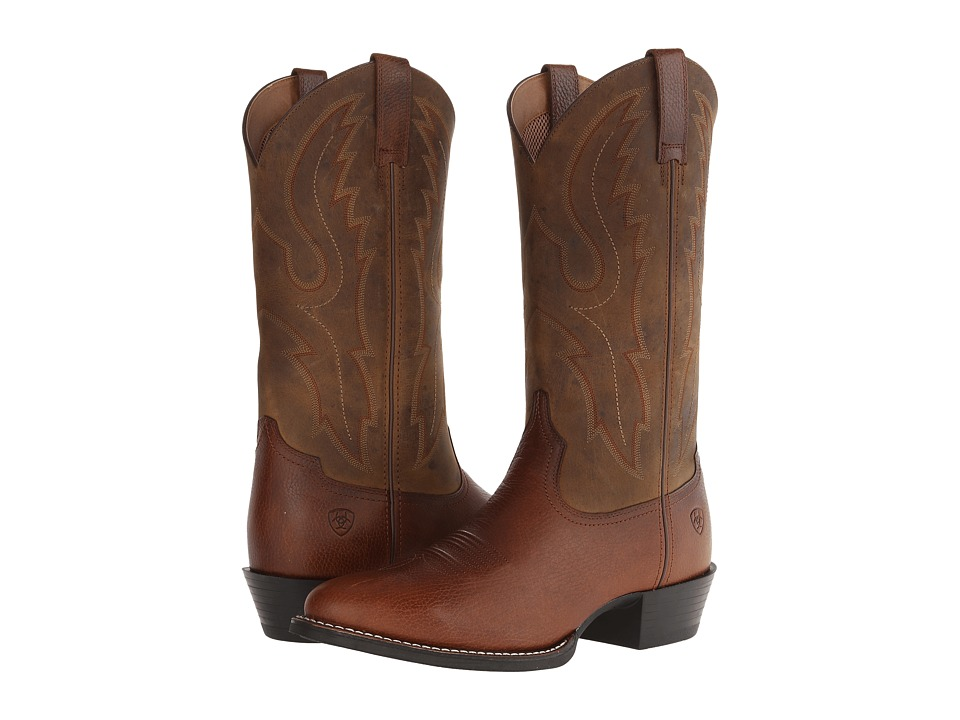 Ariat - Sport R Toe (Fiddle Brown/Powder Brown) Cowboy Boots