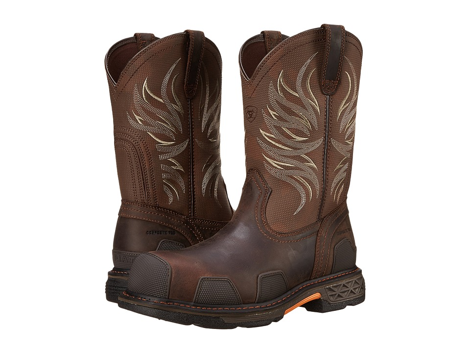 Ariat - OverDrive Western Pull-On (Dark Brown/Military CT) Men's Work Boots