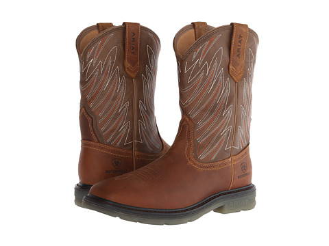 Ariat - Maverick Wide Square Toe H20 (Aged Bark/Army Green) Cowboy Boots