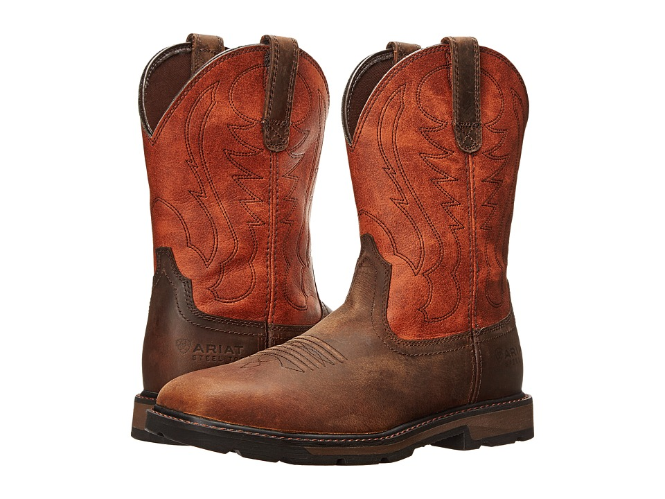 Ariat - Groundbreaker Wide Square Toe ST (Brown/Ember) Cowboy Boots