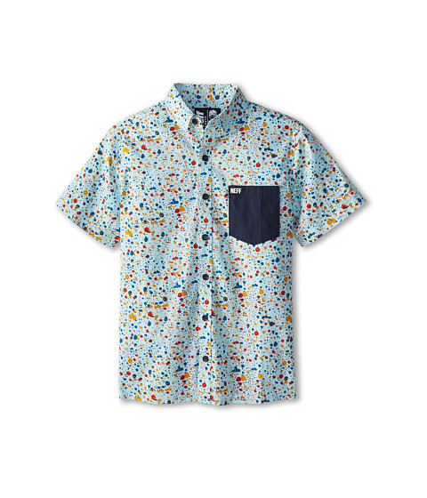 Neff Kids - Gumball Woven S/S (Big Kid) (Blue) Boy's Short Sleeve Button Up
