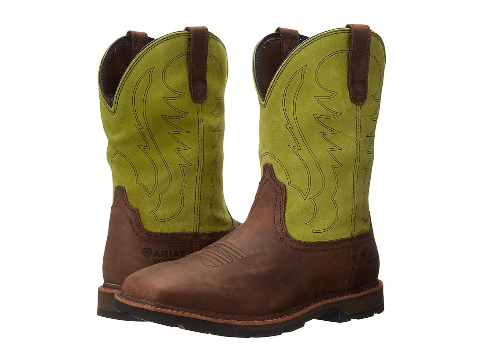 Ariat - Groundbreaker Wide Square Toe H20 (Palm Brown/Bright Lime) Cowboy Boots