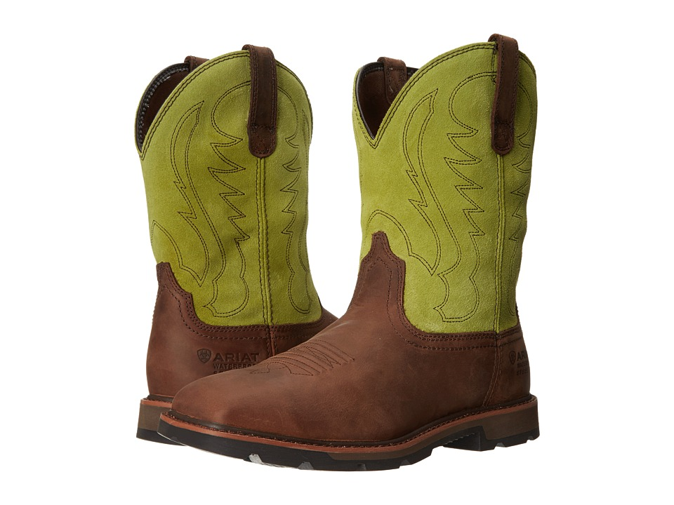 Ariat Groundbreaker Wide Square Toe H20 ST (Palm Brown/Bright Light) Cowboy Boots