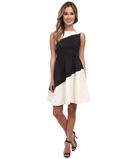 Ivy & Blu Maggy Boutique - Fit and Flare Lace Jacquard Dress (Black/White) Women's Dress
