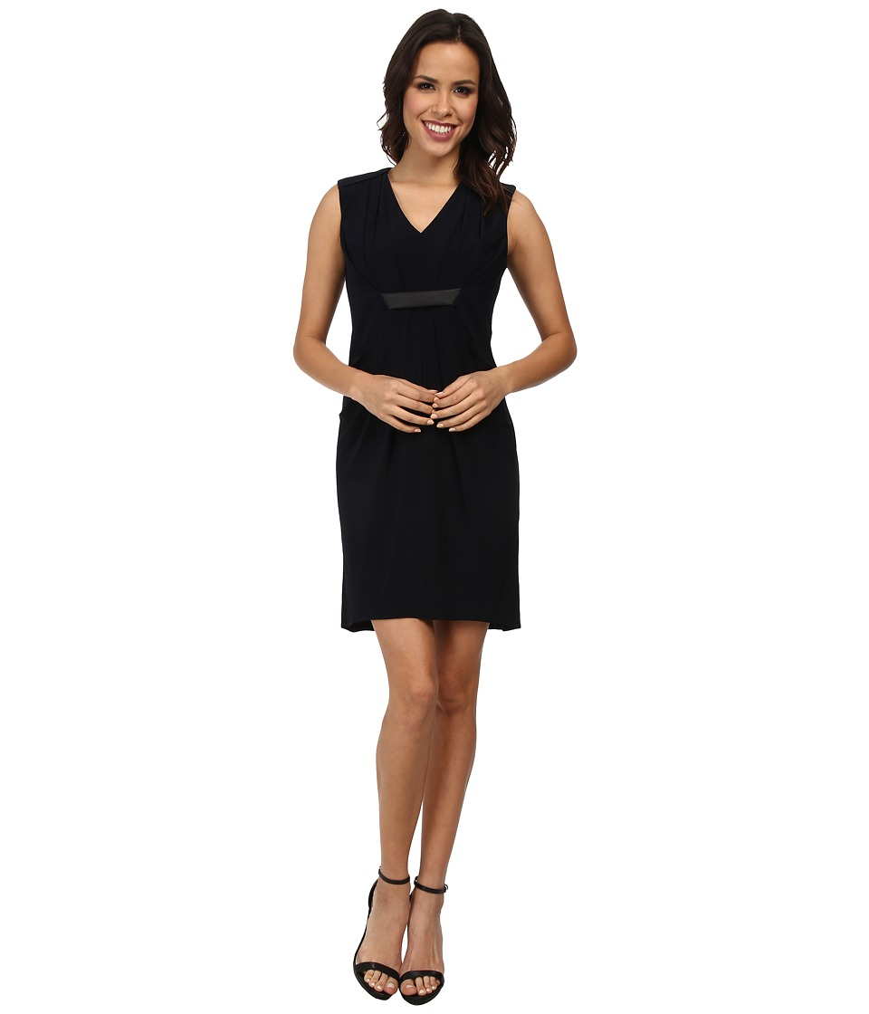 Ivy & Blu Maggy Boutique - Sleeveless V-Neck Solid Draped Front Dress (Navy) Women