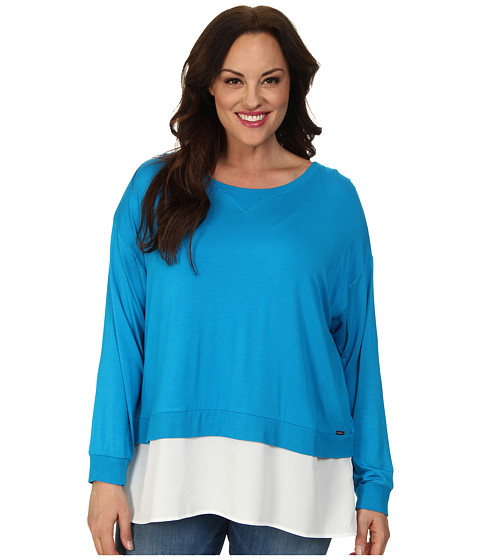 Calvin Klein Plus - Plus Size L/S Top w/ Crepe De Chine Bottom (Adriatic Blue) Women's Long Sleeve Pullover