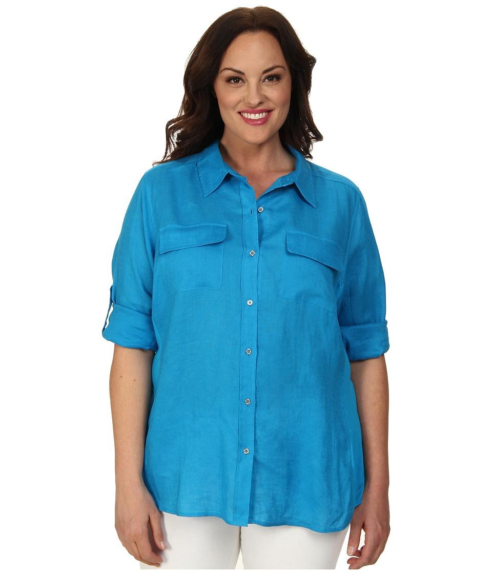Calvin Klein Plus - Plus Size Knit Insert w/ Roll Sleeve Top (Adriatic Blue) Women's Long Sleeve Button Up plus size,  plus size fashion plus size appare