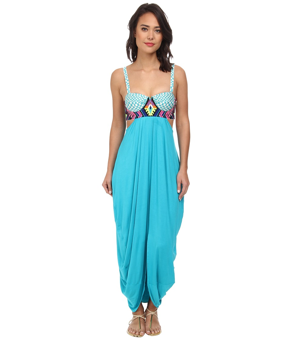 Mara Hoffman - Embroidered Maxi Dress (Turquoise) Women's Dress