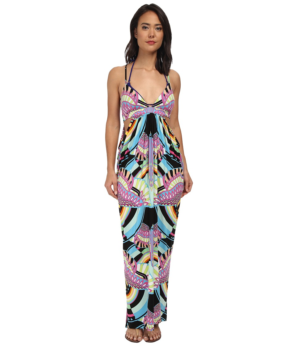 Mara Hoffman - Triangle Top Cutout Maxi (Rainbow Bird Black) Women's Dress