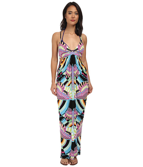 Mara Hoffman - Triangle Top Cutout Maxi (Rainbow Bird Black) Women
