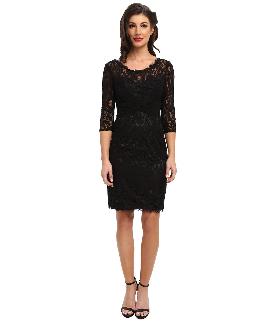 Unique Vintage - Three-Quarter Sleeve Novak Cocktail Dress (Black) Women's Dress