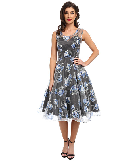 Unique Vintage - High Society Floral Swing Dress (Blue) Women