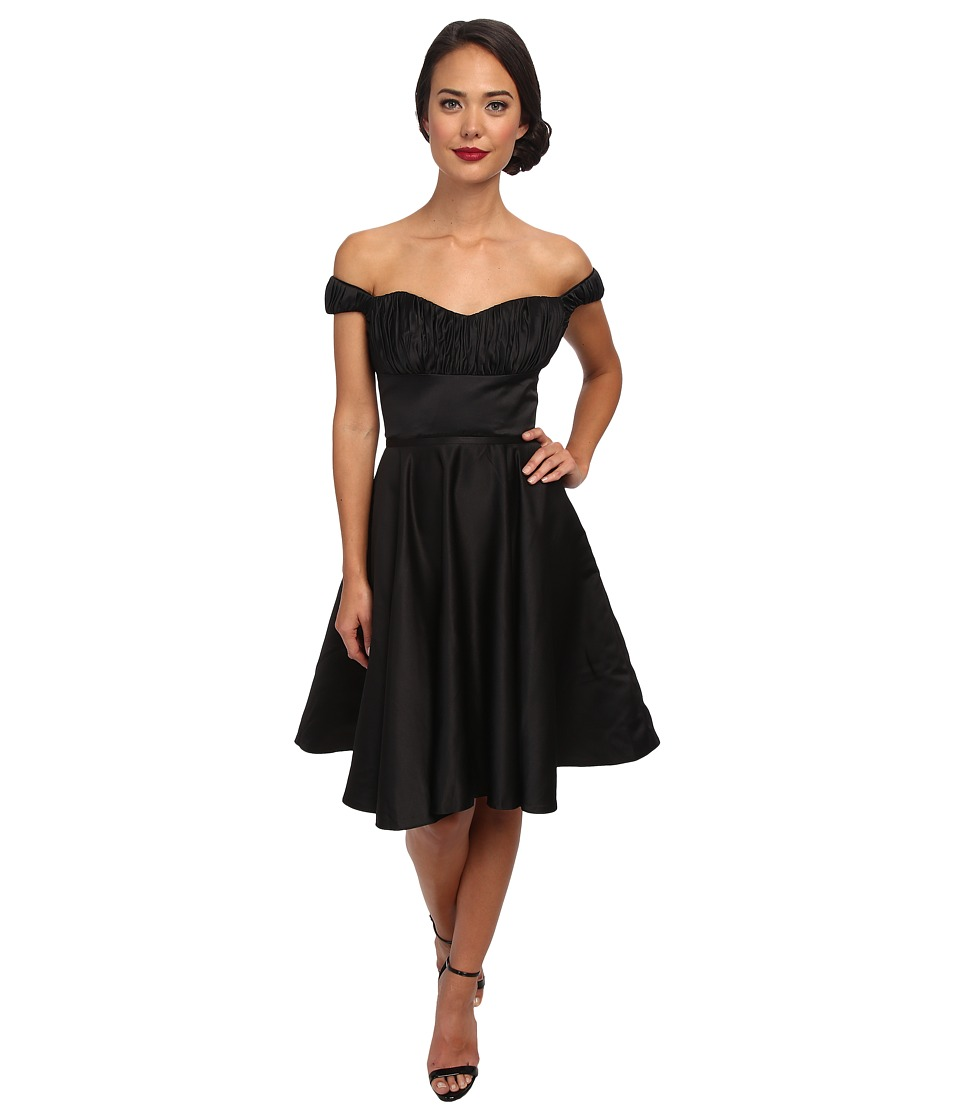 Unique Vintage - Off Shoulder Jane Dress (Black) Women