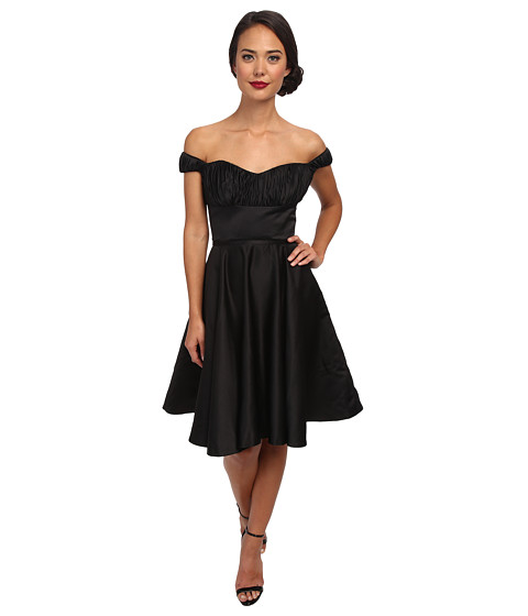 Unique Vintage - Off Shoulder Jane Dress (Black) Women's Dress