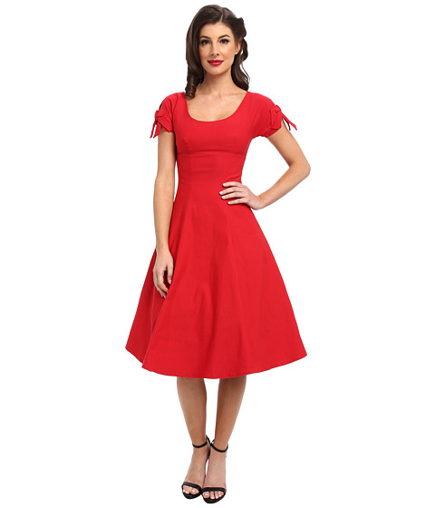 Unique Vintage - Stretch Keyhole Sleeved Swing Dress (Red) Women