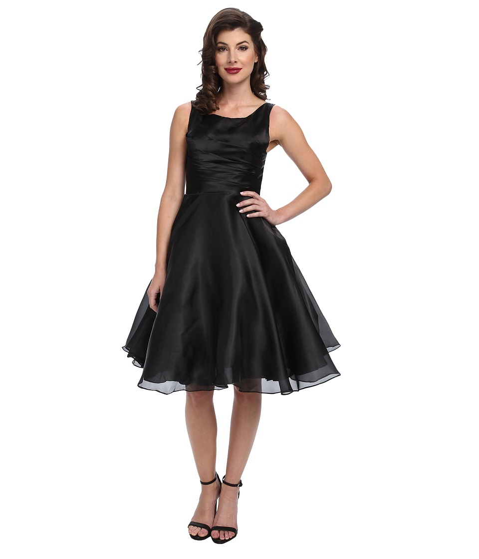 Unique Vintage - Organza Tea Length Cocktail Dress (Black) Women's Dress