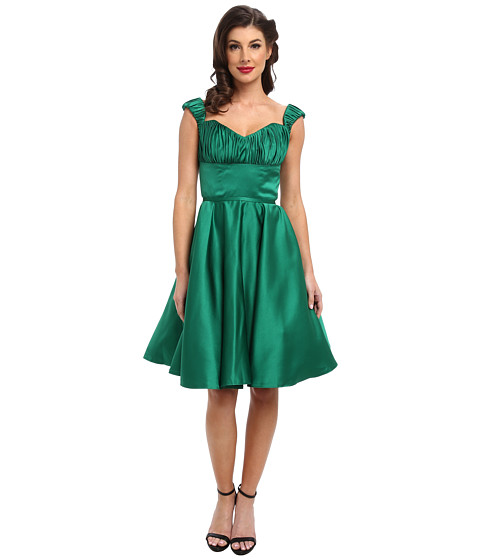 Unique Vintage - Off Shoulder Jane Dress (Green) Women's Dress