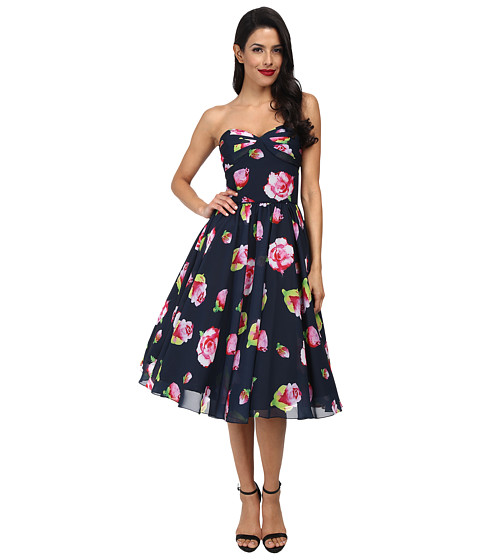 Unique Vintage - Floral Chiffon Dandridge Dress (Navy) Women's Dress