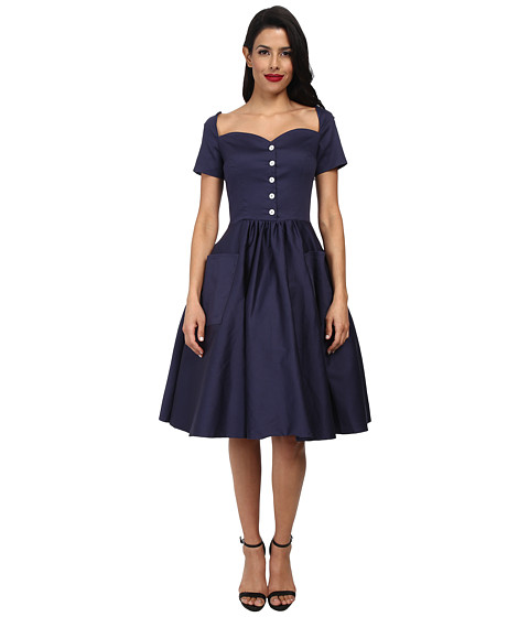 Unique Vintage - Rhapsody Sleeved Swing Dress (Navy) Women's Dress