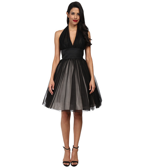 Unique Vintage - Halter Midtown Cocktail Dress (Black) Women's Dress