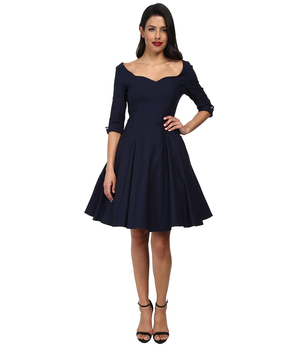 Unique Vintage - Three-Quarter Sleeve Grace Swing Dress (Navy) Women