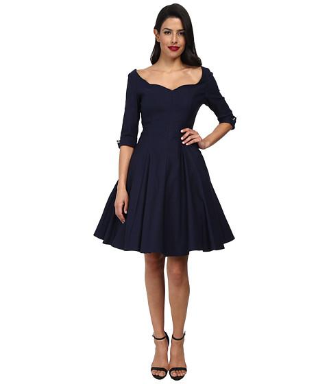 Unique Vintage - Three-Quarter Sleeve Grace Swing Dress (Navy) Women