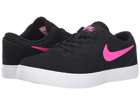 Nike SB Kids - SB Check (Little Kid) (Black/White/Pink Pow) Girls Shoes