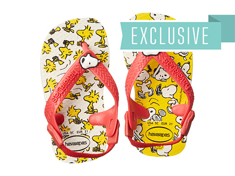 Havaianas Kids - Snoopy Flip Flop (Toddler) (White) Girls Shoes