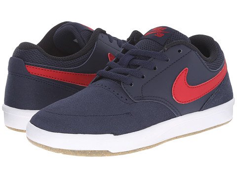 Nike SB Kids - SB Fokus (Big Kid) (Obsidian/Gum Light Brown/White/Gym Red) Boy's Shoes