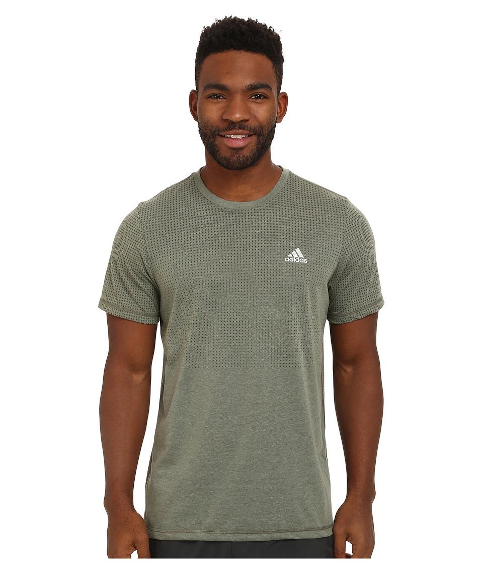 adidas - Aeroknit Short Sleeve Tee (Base Green Heather) Men